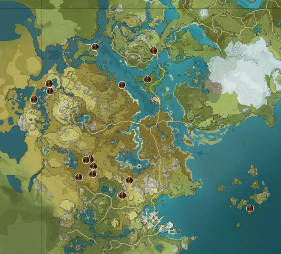 Карта расположения всех Детенышей Гео вишапа