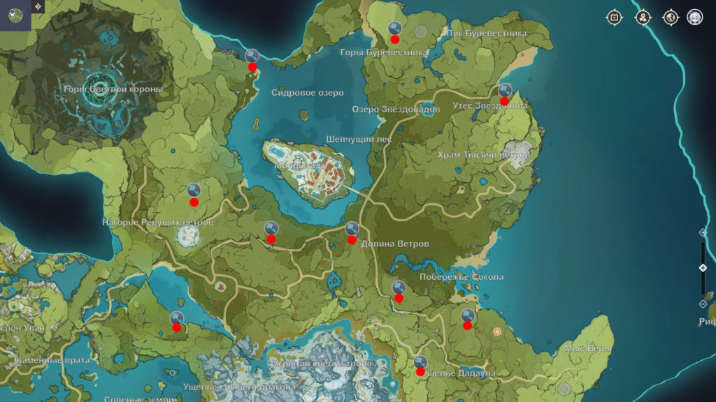 Карта всех 10 усыпальниц глубин Мондштадта genshin impact