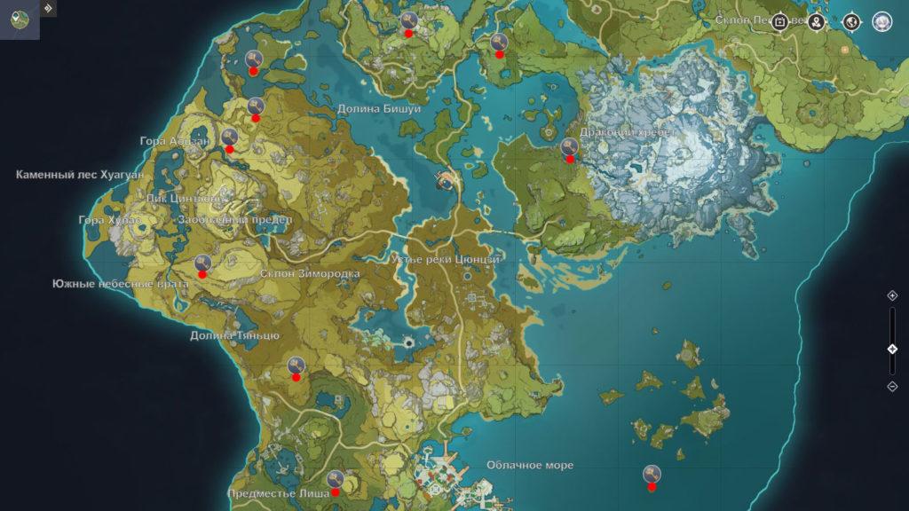 Карта усыпальниц глубин в Ли Юэ genshin impact