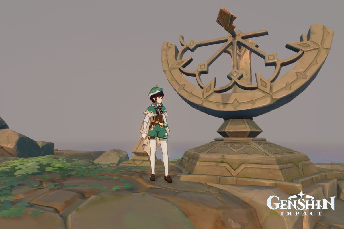 Venti stands next to a huge sundial