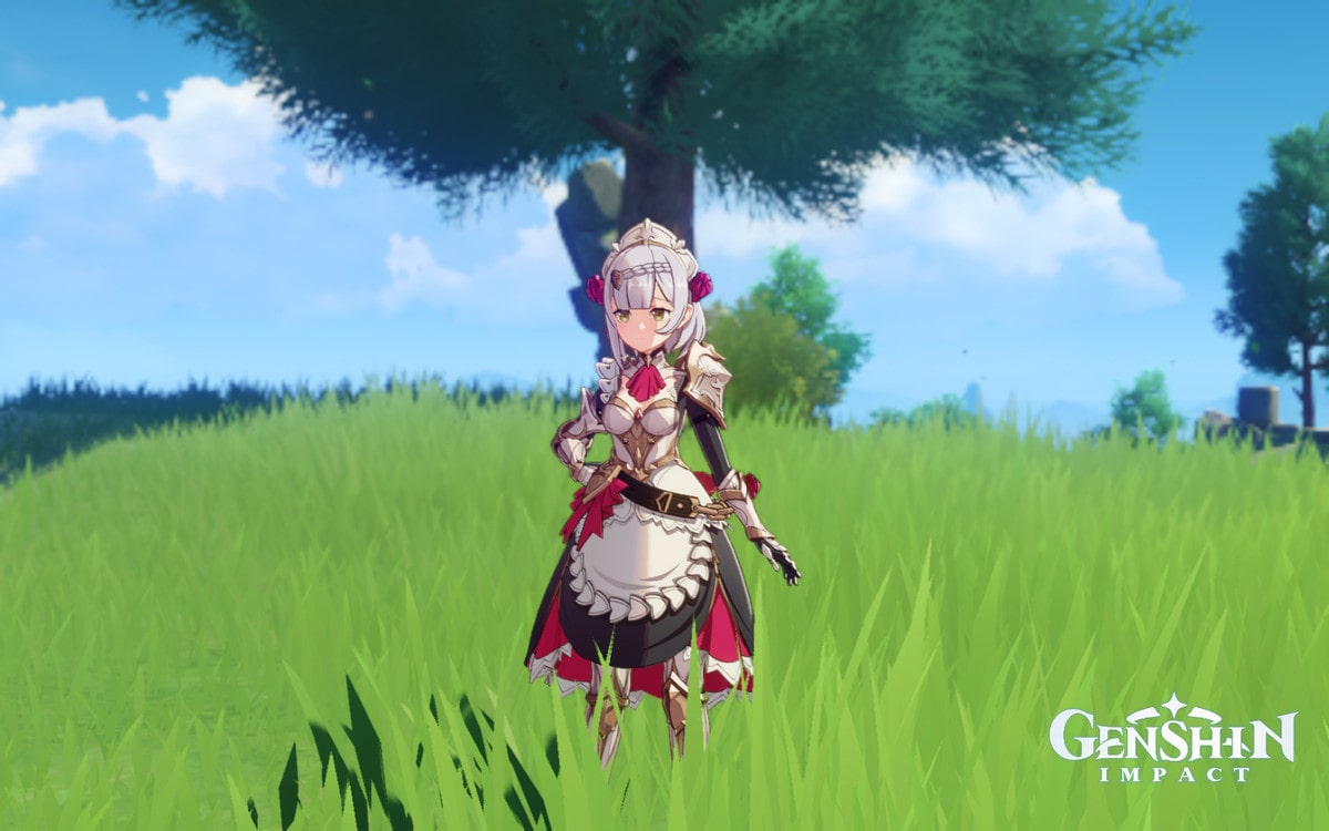 Noelle, a Claymore-using Geo character, stands in a field
