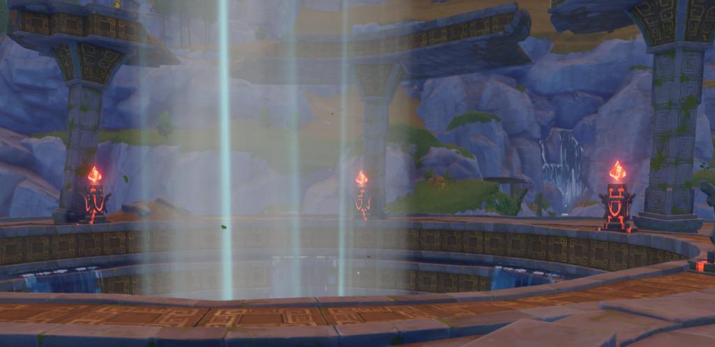 Три зажженных огненных столба в Genshin Impact