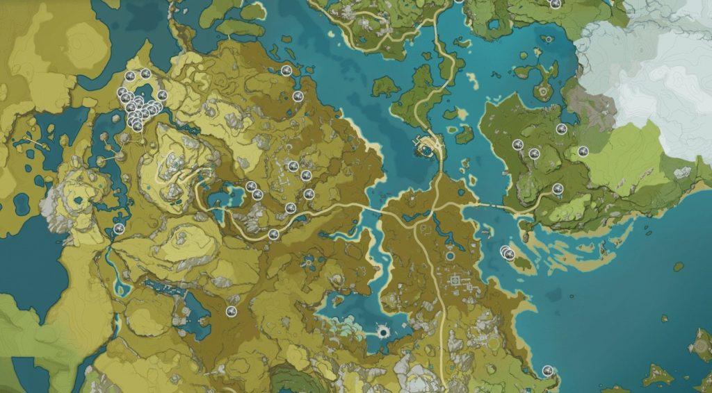 Карта расположения Белого Железа в игре genshin impact