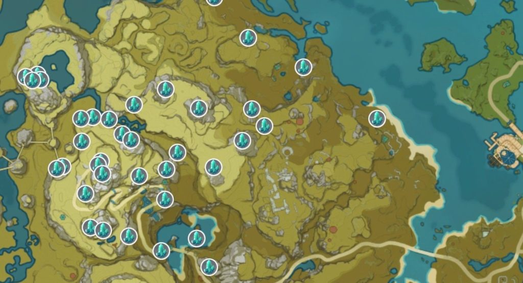 Карта кусков кристаллов в genshin impact