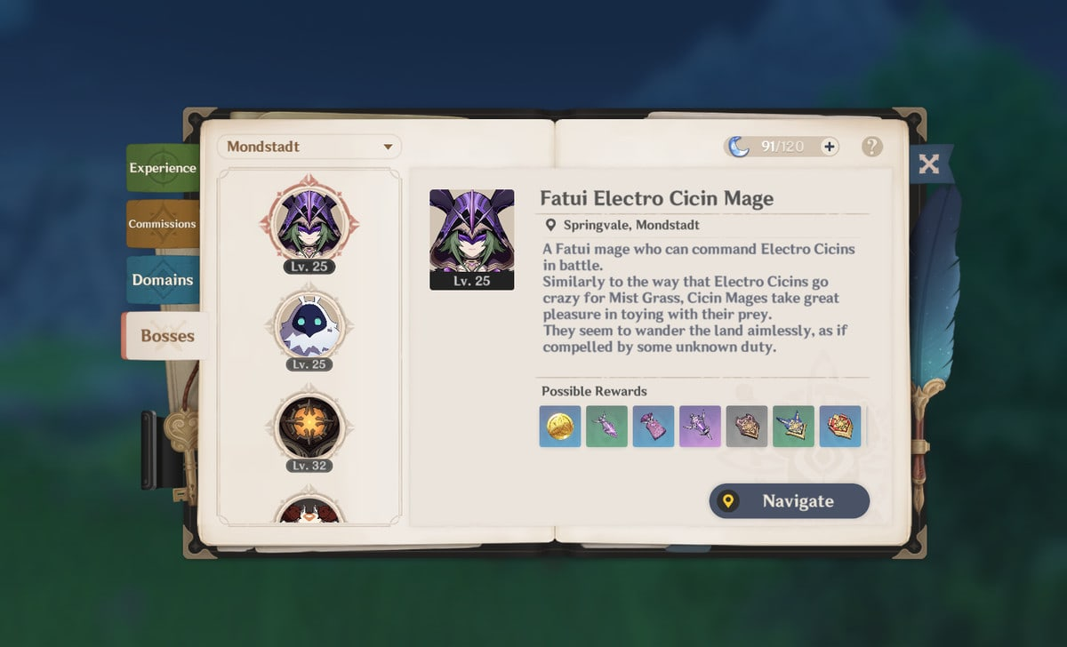 A menu screen of an open book, showing various boss enemies
