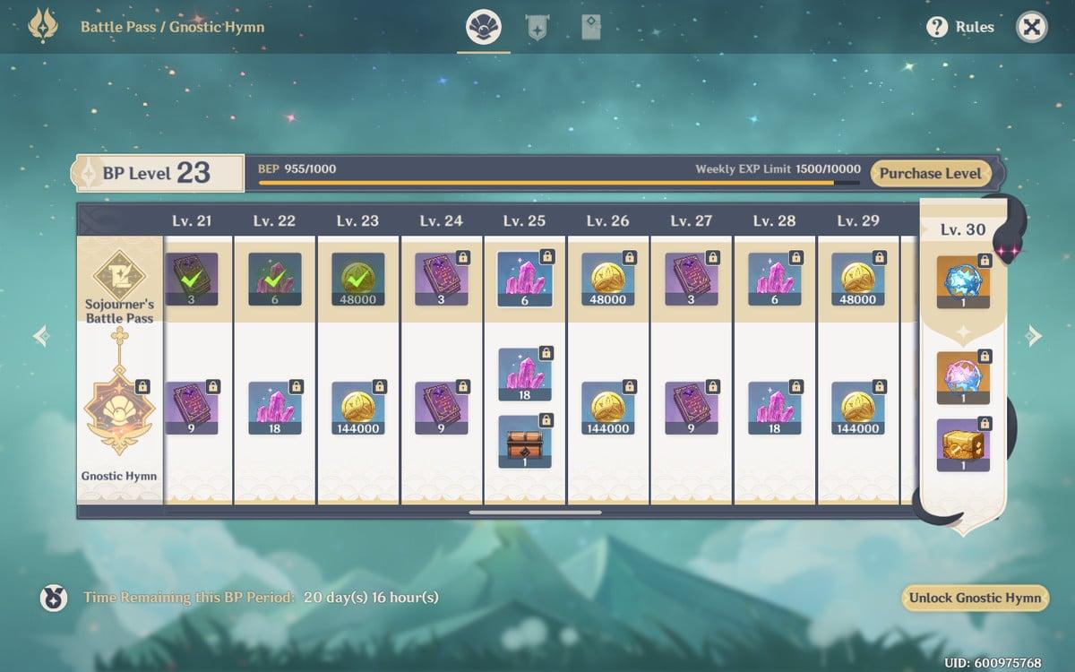 The Genshin Impact Battle Pass screen