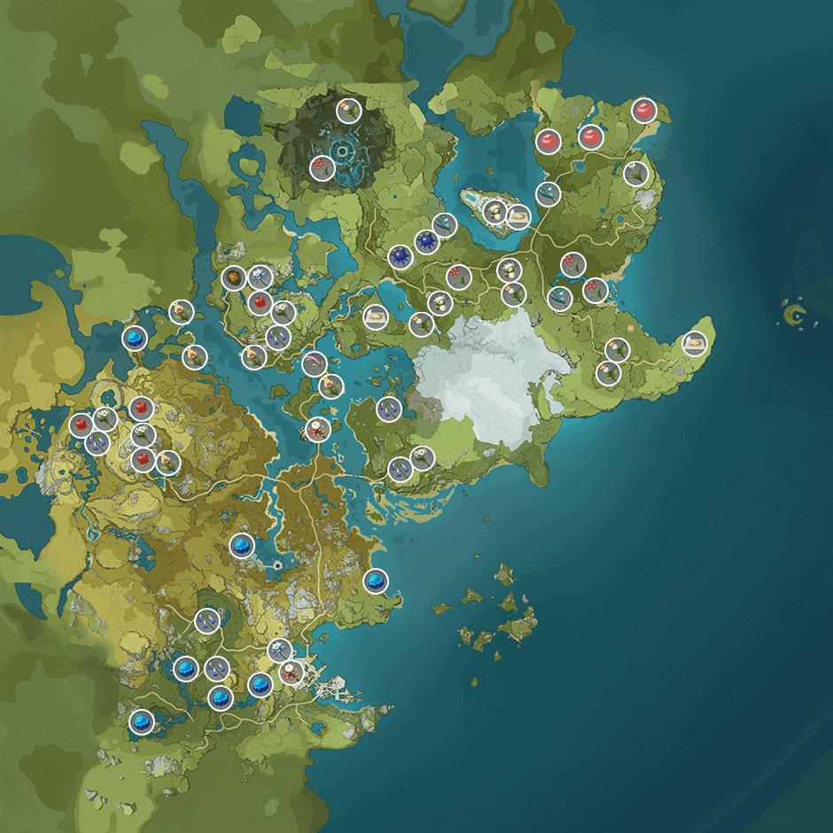Карта растений в Genshin Impact