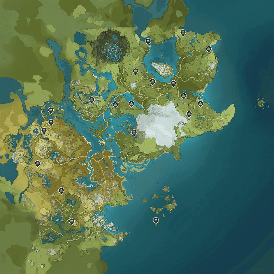 Карта усыпальниц глубин в genshin impact