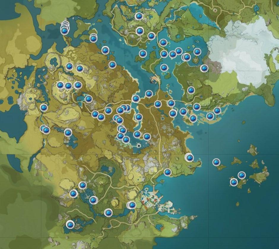 карта расположения туманных цветов genshin impact