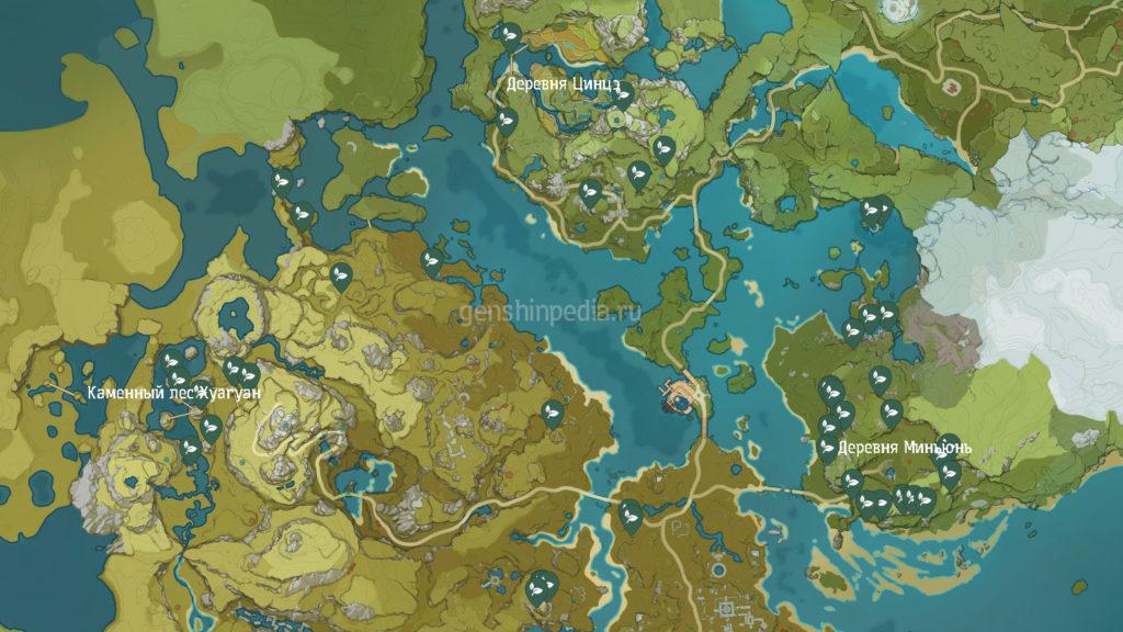 карта местоположения стеклянных колокольчиков genshin impact