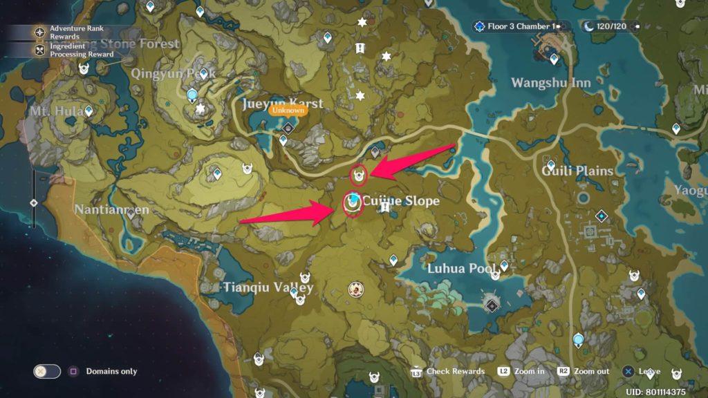 карта застрельщиков на Склоне Зимородка в genshin impact