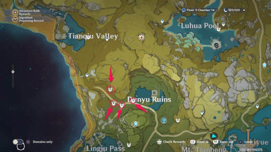 карта с местом расположения застрельщиков в genshin impact