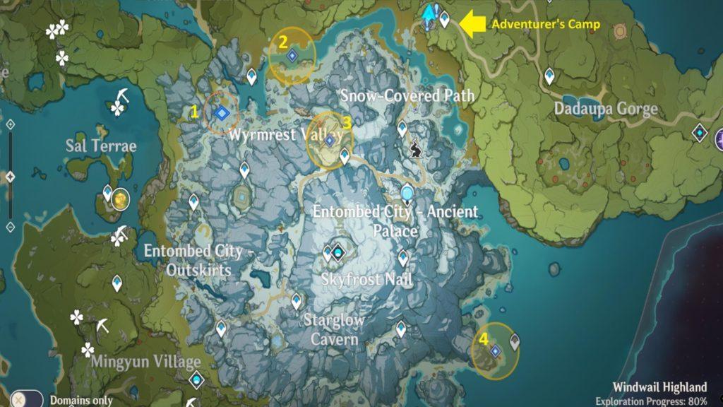карта с указанием мест где можно найти клыки разложения в genshin impact