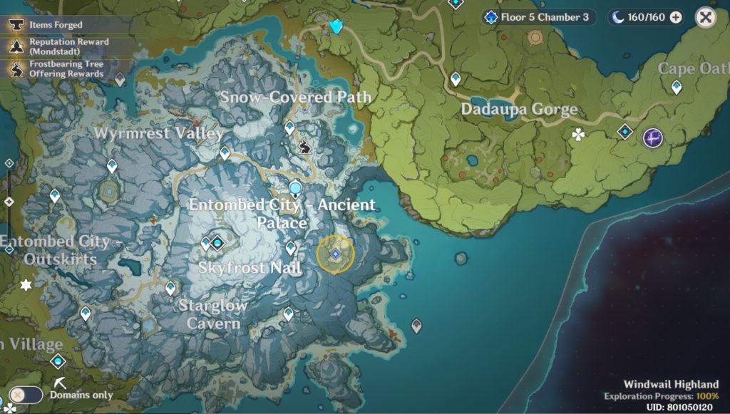 карта расположения короля снежных кабанов в genshin impact