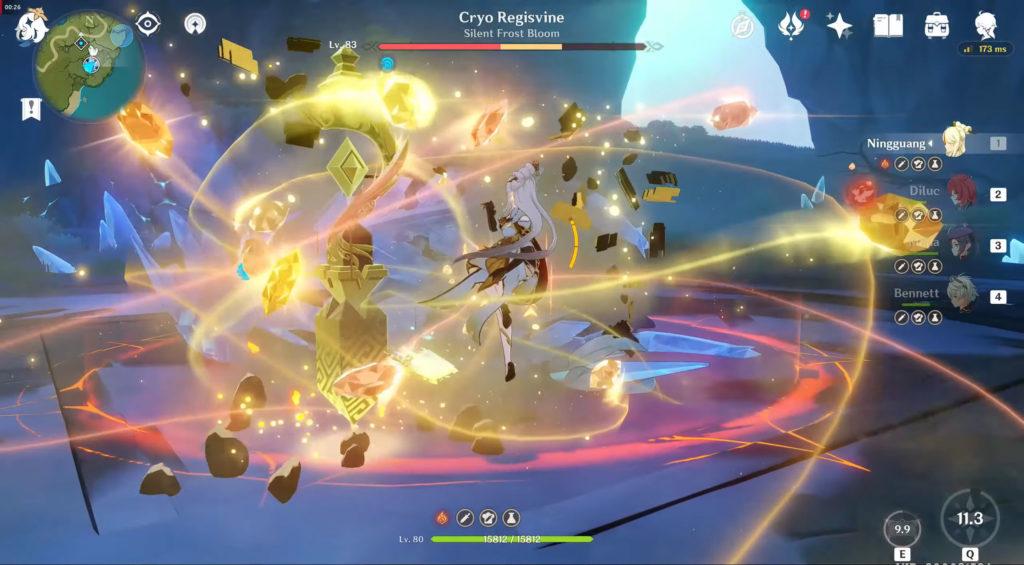 Нин Гуан использует навык Осколки звёзд вместе с навыком Нефритовая ширма