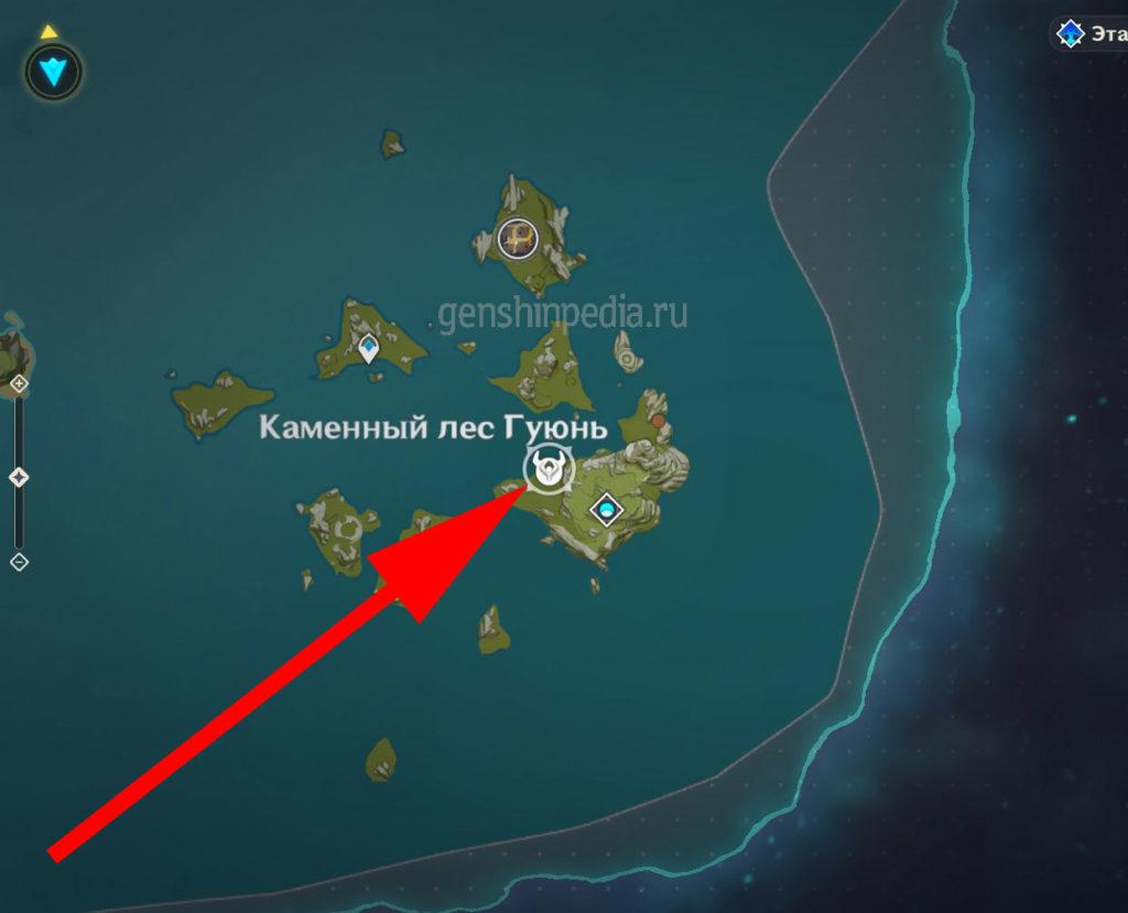карта с обозначение где находится Магов Электро цицинов Фатуи