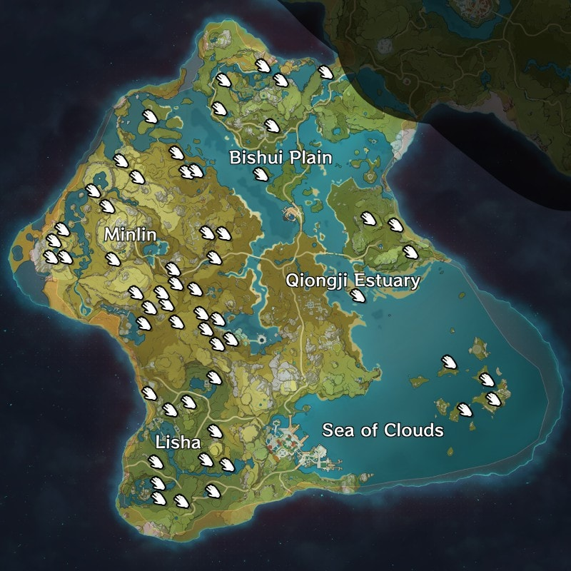общая карта расположения кор ляписа в genshin impact
