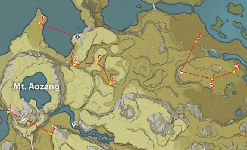 маршрут сбора кор ляписа у горы аоцзан