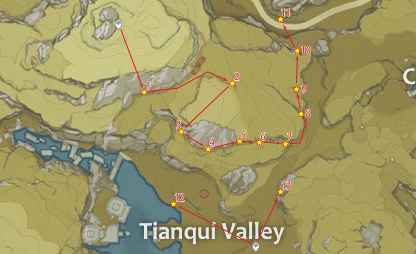 маршрут фарма кор ляписа в долине тяньцю