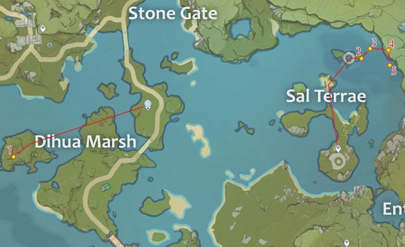 маршрут для фарма кор ляписа в солёных землях