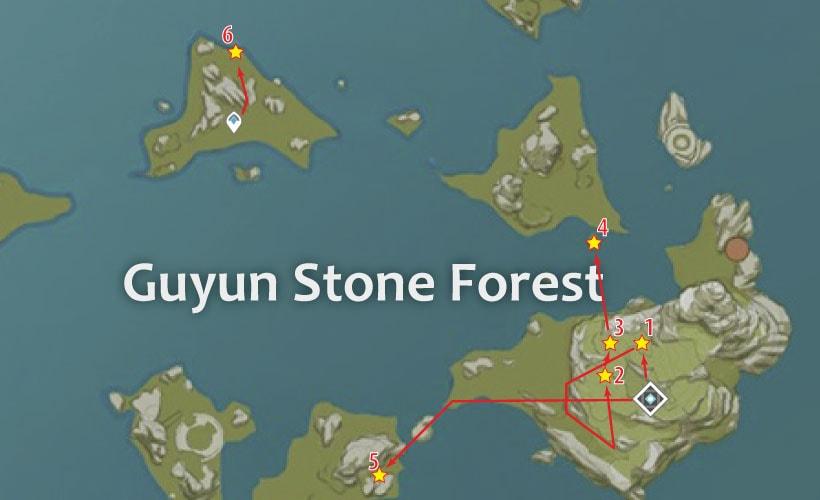 маршрут для фарма кор ляписа на в каменном лесу гуюнь