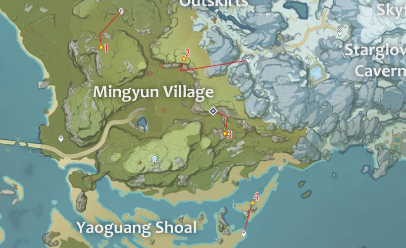 маршрут для сбора кор ляписа в деревне миньюнь