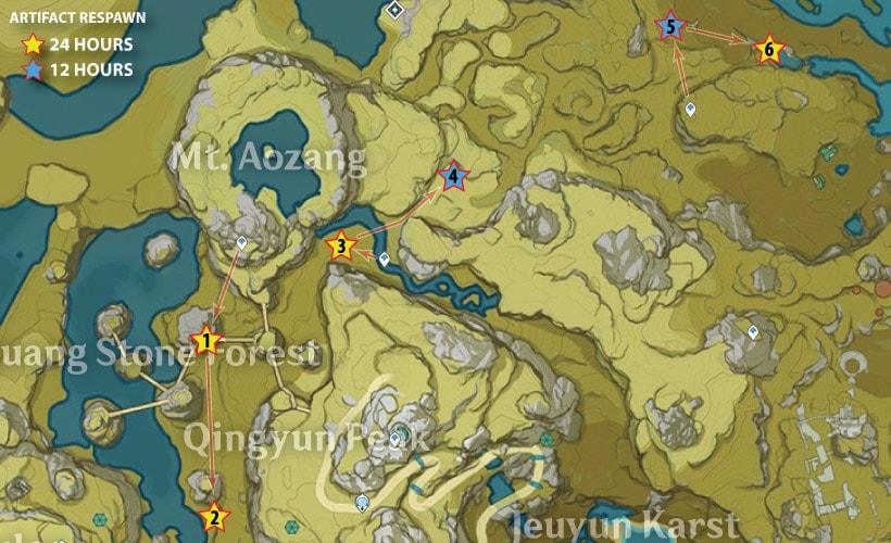 маршрут сбора артефактов возле горы Аоцзан