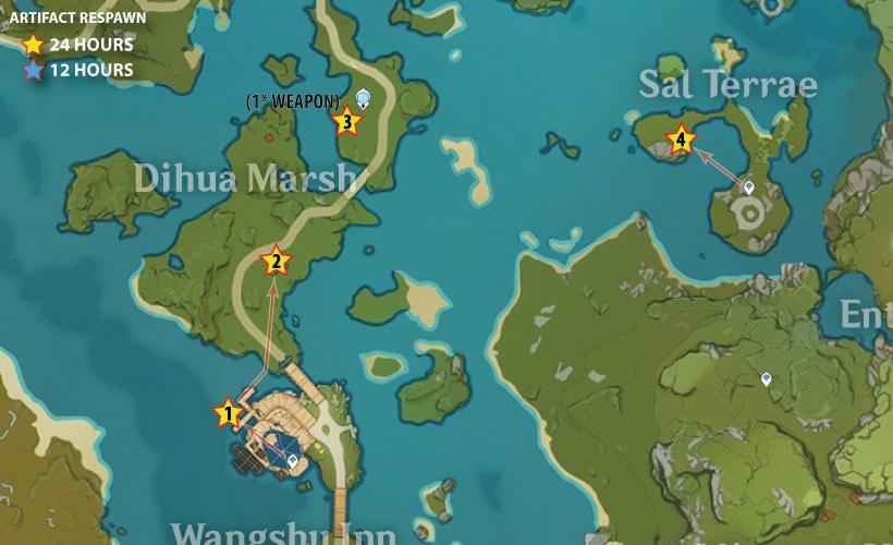 маршрут фарма артефактов на тростниковых островах