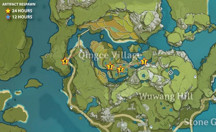маршрут фарма артефактов в деревне цинцэ