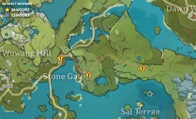 маршрут сбора артефактов в регионе каменные врата