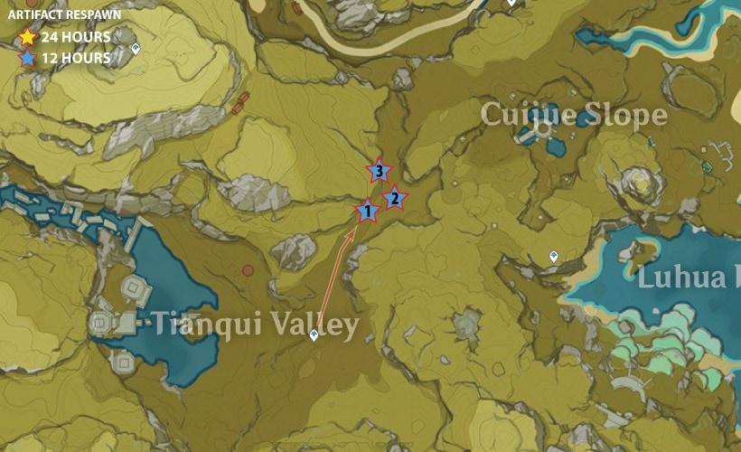маршрут фарма артефактов в долине тяньцю 1