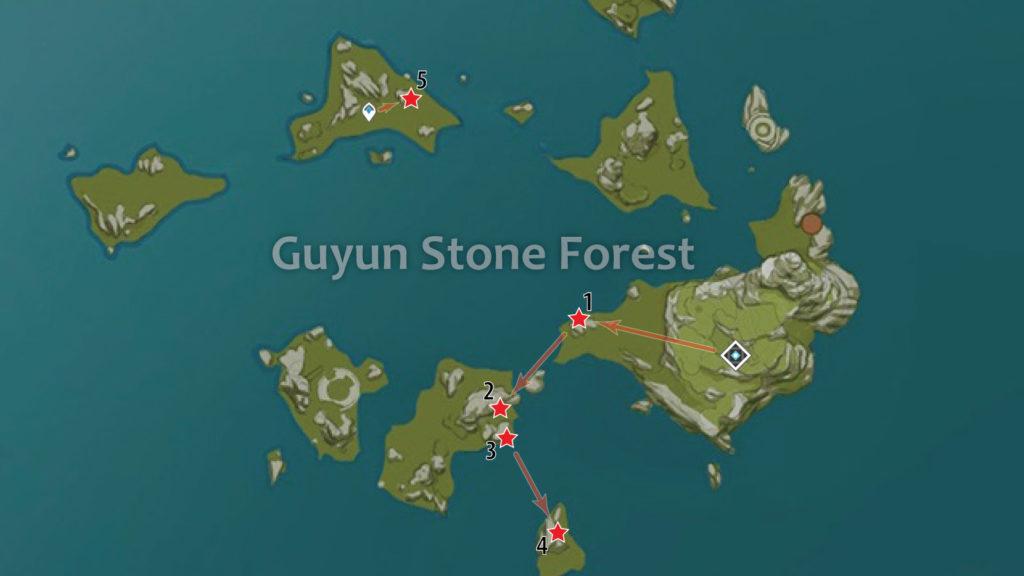 карта расположения обломков кристалла в каменном лесу гуюнь genshin impact
