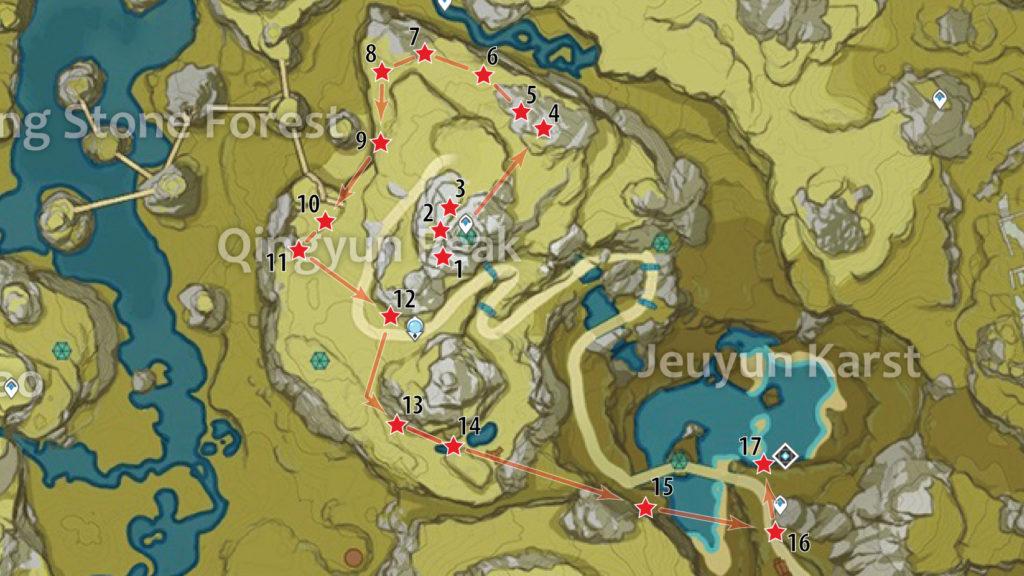 карта расположения обломков кристалла на пике циньюнь genshin impact