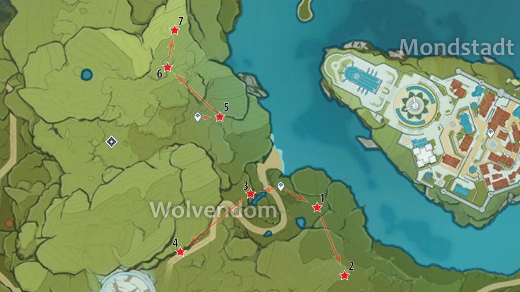 карта расположения обломков кристалла в вольфендоме genshin impact