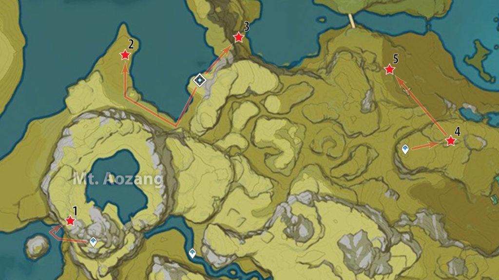карта расположения обломков кристалла на горе аоцзан genshin impact