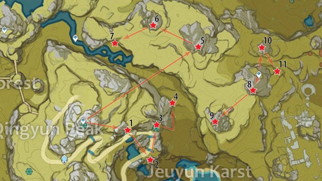 карта расположения обломков кристалла у пика циньюнь genshin impact