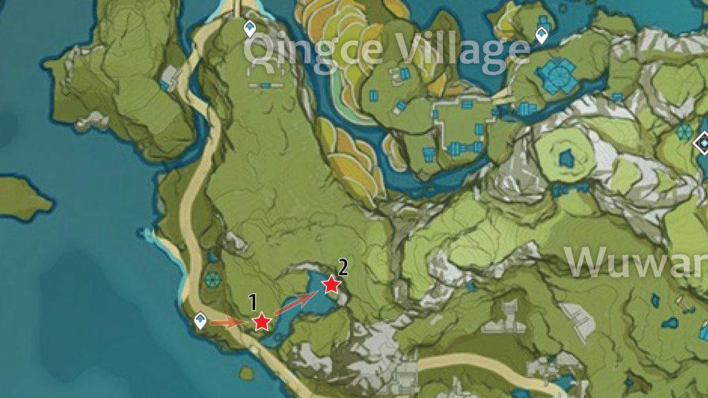 карта обломков кристалла в деревне цинцэ genshin impact
