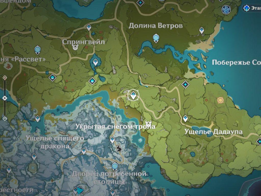 карта с месторасположением горного лагеря искателей приключений genshin impact