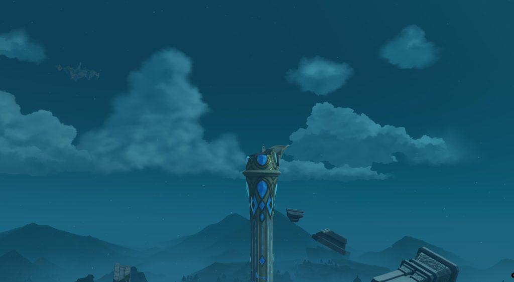 Венти получает достижение забравшись на самый верх парящей колонны