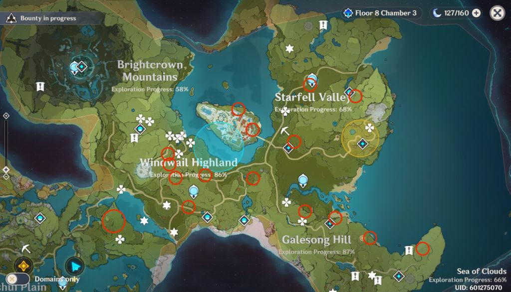 карта расположения Семян одуванчиков в genshin impact