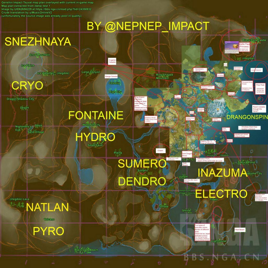 карта будущих регионов genshin impact