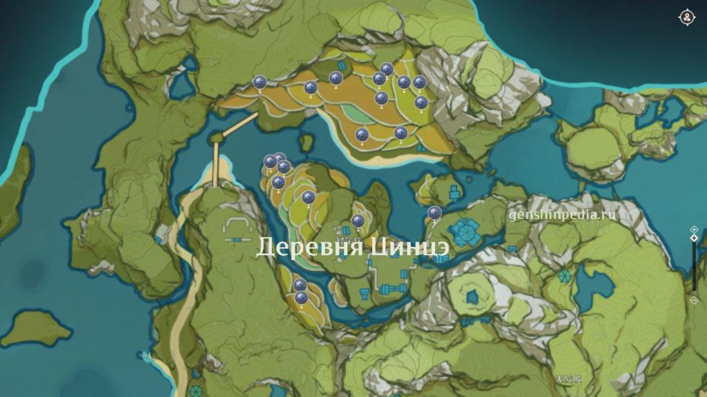 карта расположения глазурной лилии в genshin impact