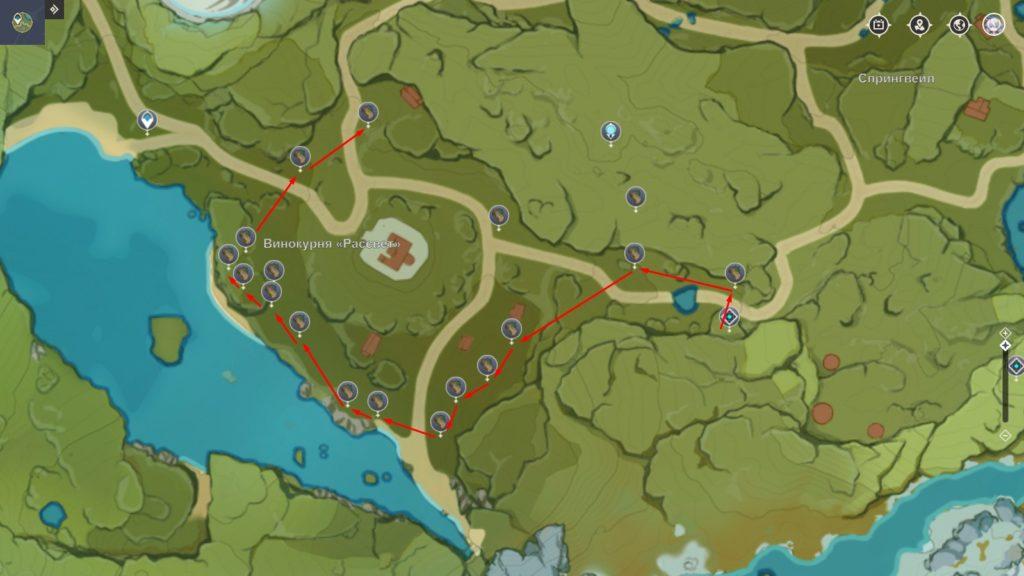 Маршрут фарма Ароматного кедра genshin impact
