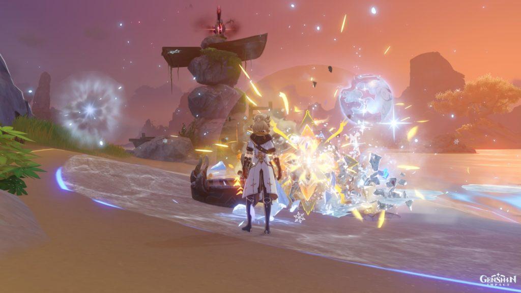 Альбедо сражается во время события Диск усиления