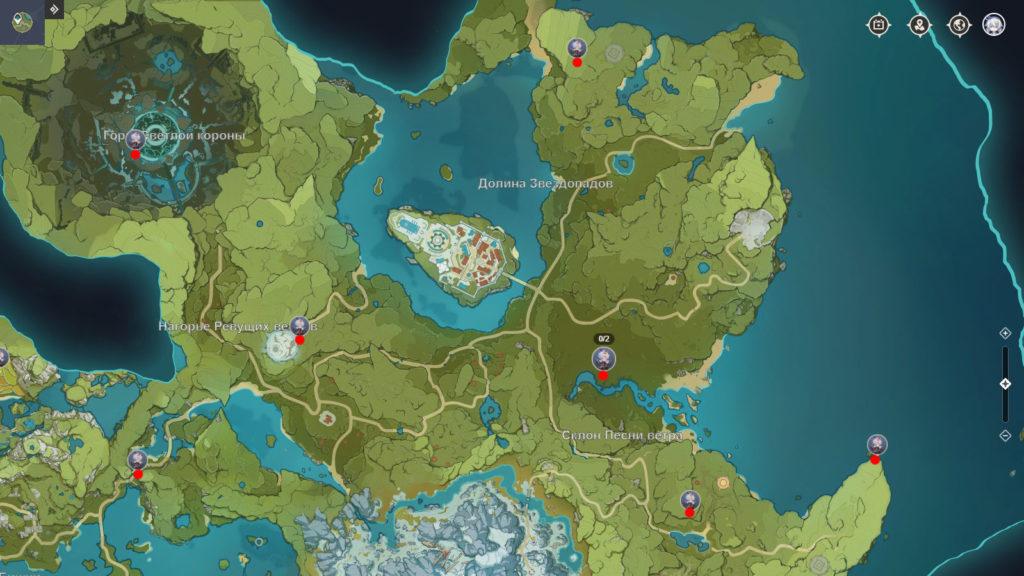 карта странных хиличурлов