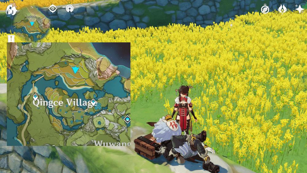 странный хиличурл лежит на траве в деревне цинцэ