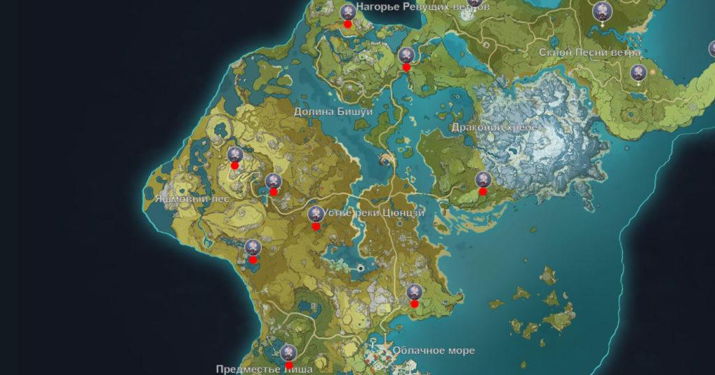 карта странных хиличурлов genshin impact