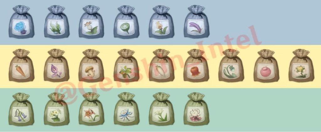 Виды семян для Чайника безмятежности Genshin Impact 2.0