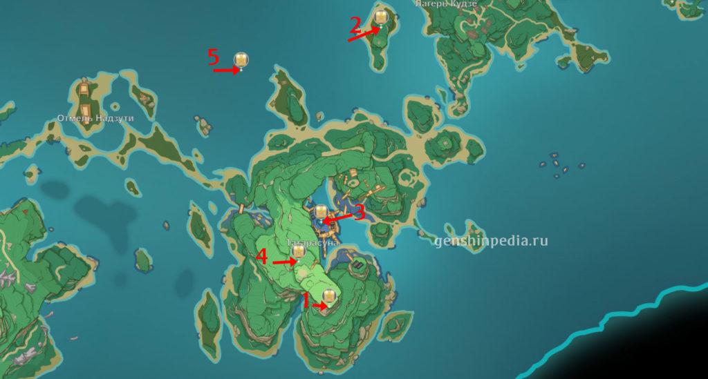 Карта роскошных сундуков genshin impact