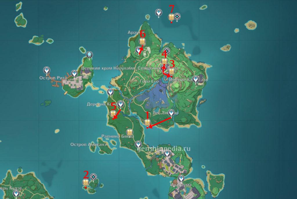 Карта расположения роскошных сундуков в Инадзуме на острове Наруками